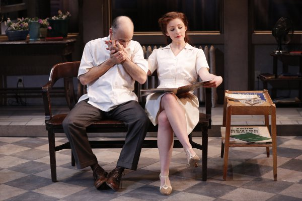 """Ned Eisenberg and Katie McClellan in a scene from The Peccadillo Theater Company production of """"Rocket to the Moon"""" (Photo credit: Carol Rosegg)"""