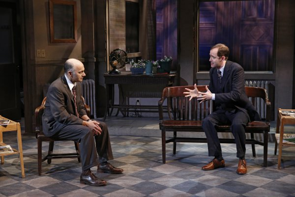 """Ned Eisenberg and Michael Keyloun in a scene from The Peccadillo Theater Company production of """"Rocket to the Moon"""" (Photo credit: Carol Rosegg)"""
