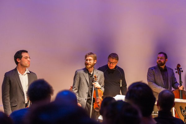 JACK Quartet as they appeared at the February 24, 2015 concert (Photo credit: Karli Cadel Photography)