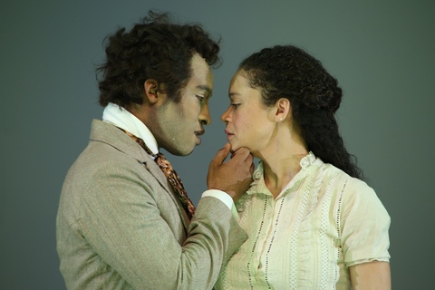 "Austin Smith and Amber Gray in a scene from ""An Octoroon"" at Theatre for a New Audience  (Photo credit: Gerry Goodstein)"