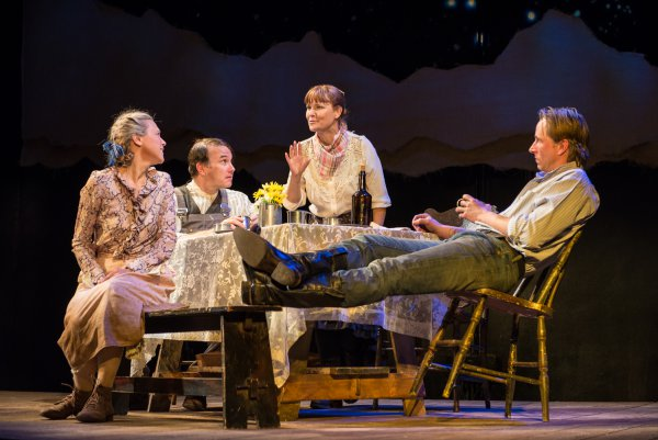 "Tracy Middendorf, Ted Koch, Kelly McAndrew and Todd Lawson in a scene from Beth Henley's ""Abundance"" (Photo credit: Marielle Solan Photography)"