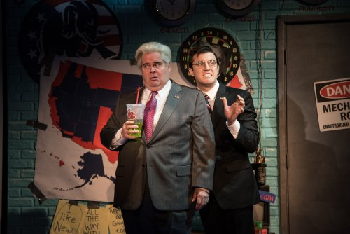 "John Treacy Egan as Newt Gingrich and Kevin Zak as Kenneth Starr in a scene from ""Clinton the Musical"" (Photo credit: Russ Rowland)"