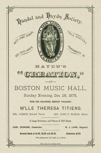 "Haydn and Handel Society's ""Creation,"" 1875"