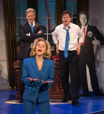 "Hilary (Kerry Butler) with her two loves, WJ (Tom Galantich and Billy (Duke Lafoon), in a scene from ""Clinton the Musical"" (Photo credit: Russ Rowland)"