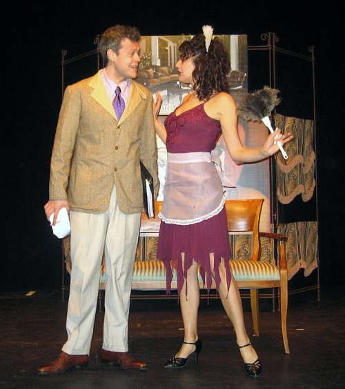"Blake Joseph and Stacey Harris in a scene from The Gershwins' ""Pardon My English"" (Photo credit: Michael Portantiere)"