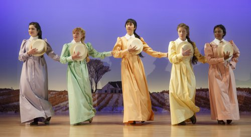 "Carolina Sanchez, Karyn Quackenbush, Cindy Cheung, Annie McNamara and April Matthis in a scene from the new musical ""Iowa"" at Playwrights Horizons (Photo credit: Joan Marcus)"