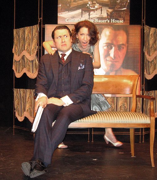 "Colin Ryan and Amie Bermowitz in a scene from The Gershwins' ""Pardon My English"" (Photo credit: Michael Portantiere)"