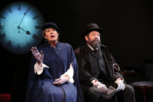 "Jayne Atkinson as Honorine Verne and Jonathan Hadary as Jules Verne in a scene from ""Jules Verne: From the Earth to the Moon"" (Photo credit: Joan Marcus)"