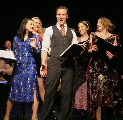 "Mark Montague, Alexandra McKenna-Mantica, Katherine Oswald, Tyler Milliron, Diana Rose Becker and Chelsie Nectow in a scene from The Gershwins' ""Pardon My English"" (Photo credit: Michael Portantiere)"