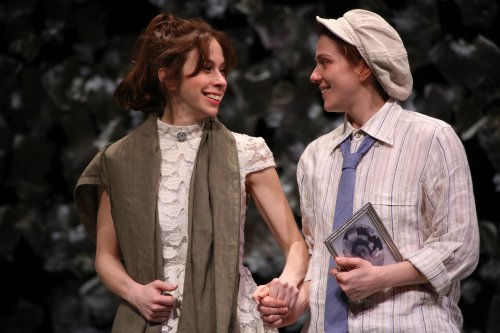 Emily Young as Sylvia and Jessie Austrian's Julia disguised as Sebastian in a scene from Fiasco Theater's The Two Gentlemen of Verona (Photo credit: Gerry Goodstein)