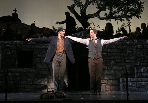 "John Turturro and Santino Fontana in a scene from Encores! ""Zorba!"" (Photo credit: Joan Marcus)"