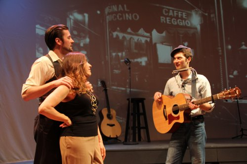 "Peter Oyloe as Paul Clayton, Jamie Babbitt as Carla Rotolo and Jared Weiss as the young Bob Dylan in a scene from ""Search: Paul Clayton"""