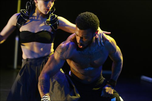 """Troy Ogilvie and AJ """"The Animal"""" Jonez in a scene from Patricia Noworol Dance Theater's Replacement Place"""" (Photo credit: aeric/the photographer)"""