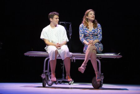 "Jonathan Groff and Ana Gasteyer in a scene from ""A New Brain"" (Photo credit: Joan Marcus)"