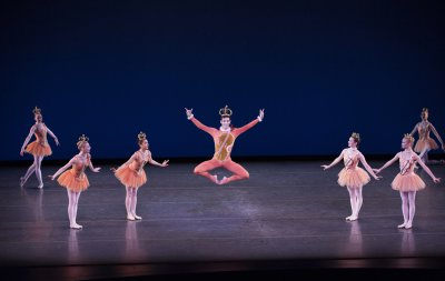 "Christopher D'Ariano and cast in a scene from Jerome Robbins' ""Fanfare"" (Photo credit: Paul Kolnik)"