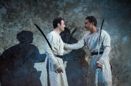 """Arian Moayed and Omar Metwally in a scene from Rajiv Joseph's """"Guards at the Taj"""" (Photo credit: Doug Hamilton)"""