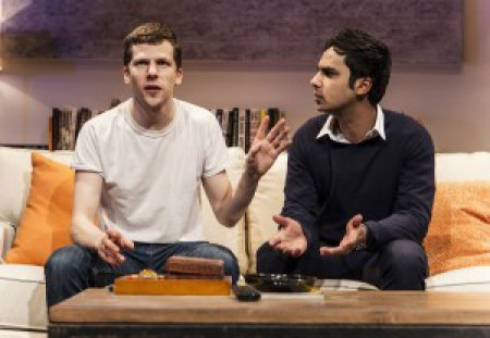 """Jesse Eisenberg and Kunal Nayyar in a scene from """"The Spoils"""" (Photo credit: Monique Carboni)"""