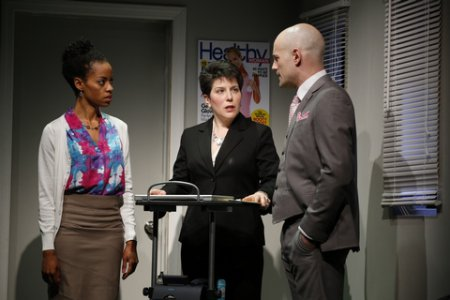 "Patrice Bell, Maria Wolf and Carson Lee in a scene from ""Office Politics"" (Photo credit: Carol Rosegg)"