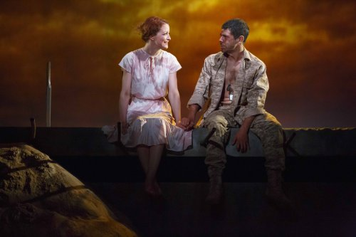 "Jelena Stupljanin and Brian Miskell in a scene from ""Afghanistan, Zimbabwe, America, Kuwait"" (Photo credit: Joan Marcus)"