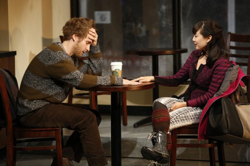 "Ryan Spahn an Jennifer Kim in a scene from ""Gloria"" (Photo credit: Carol Rosegg)"