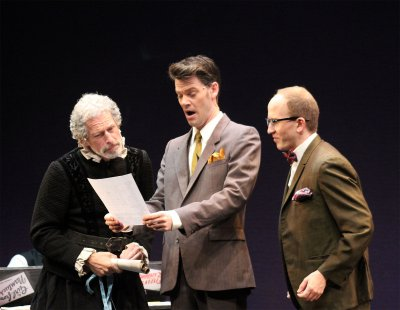 "Bruce Rebold, Ryan Knowles and Prescott Seymour in a scene from the musical ""What Do Critic Want?"" (Photo credit: Nick Tighe)"
