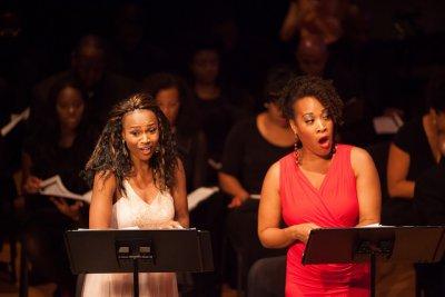 "JoAnna Marie Ford and Janinah Burnett in a scene from ""Voodoo, a Harlem Renaissance Opera"" (Photo credit: Regina Fleming)"
