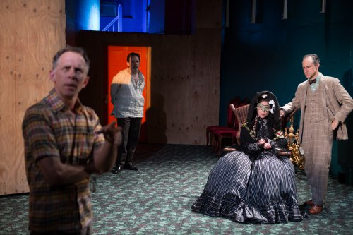 "Bruce McKenzie as the Director, Thomas Jay Ryan, Gibson Frazier and Nina Hellman as the actors in costume in a scene from ""10 out of 12"" (Photo credit: Julieta Cervantes)"