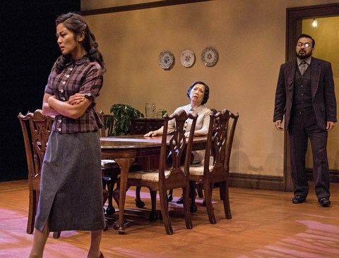 """Teresa Avia Lim, Mia Katigbak and David Shih in a scene from NAATCO's revival of Clifford Odets' """"Awake and Sing!"""" (Photo credit: William P. Steele)"""