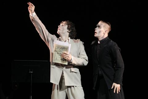 "Ivan Vasliev and Vladimir Varnava in a scene from Varnava's ""Mozart & Salieri"" (Photo credit: Stas Levshin)"