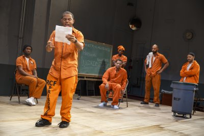"Donald Webber, Jr., Chris Myers, Derrick Baskin, Daniel J. Watts, Nicholas Christopher and Ryan Quinn in a scene from ""Whirl Inside a Loop"" (Photo credit: Joan Marcus)"