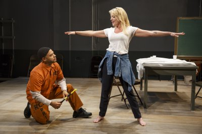 "Ryan Quinn and Sherie Rene Scott in a scene from ""Whirl Inside a Loop"" (Photo credit: Joan Marcus)"
