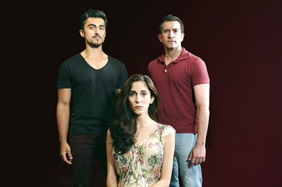"""Gopal Divan, Pooya Mohseni and George Faya in a scene from """"Death of the Persian Prince""""(Photo credit: John Capo Public Relations)"""