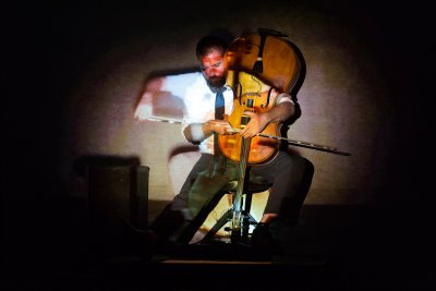 "Cellist Kevin McFarland as he appeared in ""Run Time Error"" (September 17, 2015) (Photo credit: Karli Cadel)"