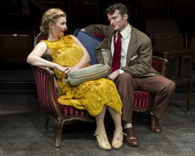"Alexandra O'Daly and Nate Washburn in a scene from ""The Awful Truth"" (Photo credit: Jacob J. Goldberg)"