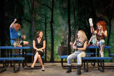 "Becky Ann Baker, Samantha Soule, Constance Schulman and Arden Myrin a scene from Robert O'Hara's ""Barbecue"" now at the Public Theater (Photo credit: Joan Marcus)"