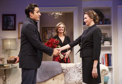 "Jared Zirilli, Audrey Heffernan Meyer and Mairin Lee in a scene from ""Romance Language"" (Photo credit: Joan Marcus)"