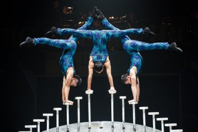 Energy Trio Hand Balancers in a scene from Big Apple Circus: The Grand Tour (Photo credit: Maike Schultz: Big Apple Circus)