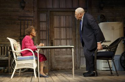 "Cicely Tyson and James Earl Jones in a scene from D.L. Coburn's ""The Gin Game"" (Photo credit: Joan Marcus)"