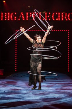 Chiara Anastasini with Hula Hoops in a scene from Big Apple Circus: The Grand Tour (Photo credit: Maike Schultz: Big Apple Circus)