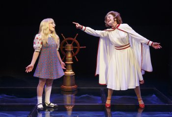 """Carly Tamer as Amy Carter and Alison Fraser as Betty Ford in """"Amy Carter's Fabulous Dream Adventure,"""" the second part of """"First Daughters Suite"""" (Photo credit: Joan Marcus)"""