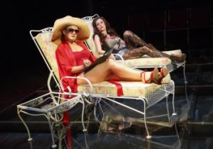 "Alison Fraser as Nancy Reagan and Caissie Levy as Patti Davis in a scene from ""Patti by the Pool,"" the third musical from ""First Daughter Suite"" (Photo credit: Joan Marcus)"