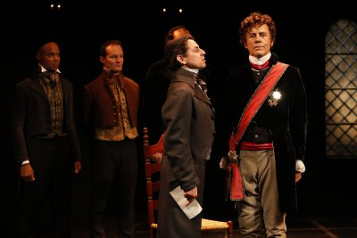 "Curtis Wiley, Jamie LaVerdiere, Christopher M. Williams and Mark Pinter in a scene from ""Rothschild & Sons"" (Photo credit: Carol Rosegg)"