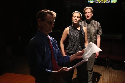 "Jason Collins, Larisa Oleynik and Olli Haaskivi in a scene from ""Who's Your Baghdaddy? Or How I Started the Iraq War"" (Photo credit: Jeremy Daniels)"