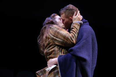 "Lucy Lavely and Derek Grabner in a scene from ""The Widow of Tom's Hill"" (Photo credit: Carol Rosegg)"