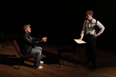 "Nehal Joshi and Brennan Caldwell in a scene from ""Who's Your Baghdaddy? Or How I Started the Iraq War"" (Photo credit: Jeremy Daniels)"