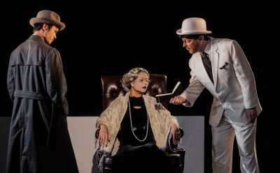 """A scene from NAATCO's world premiere of """"Charles Francis Chan, Jr.'s Exotic Oriental Murder Mystery"""" (Photo credit: William P. Steele)"""