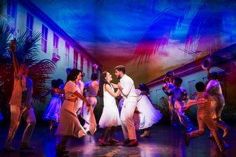 "Ana Villafañe, Josh Segarra and cast in a scene from the new musical ""On Your Feet!"" (Photo credit: Matthew Murphy)"