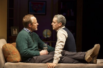 "John Benjamin Hickey and Patrick Breen in a scene from ""Dada Woof Papa Hot"" (Photo credit: Joan Marcus)"