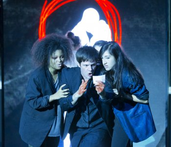 "Brynn Williams, Michael Esper and Krystina Alabado in a scene from ""Lazarus"" at New York Theatre Workshop (Photo credit: Jan Versweyveld)"