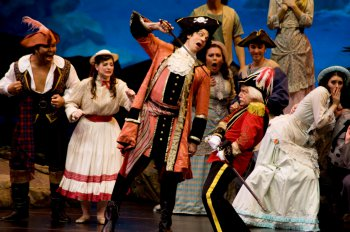 "David Wannen as the Pirate King and Stephen Quint as Major General Stanley in a scene from ""The Pirates of Penzance"" (Photo credit: William Reynolds)"